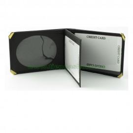 Portacarnet pequeño tipo libro para placa ovalada calidad superior