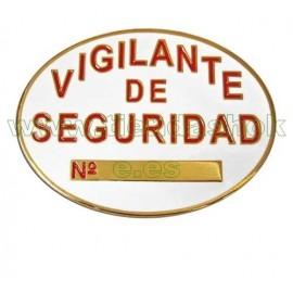 Placa homologada vigilante de seguridad, explosivos