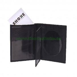 Portacarnet tipo libro calidad superior para placa ovalada