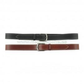 Cinturón de cuero paisano 3,5cm hilo blanco doble