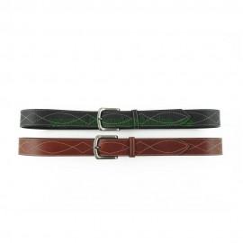 Cinturón de cuero paisano 3,5cm con dibujo de hilo