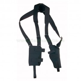 Sobaquera vertical acolchada para pistola o revólver con fleje,funda cargador y grilletes