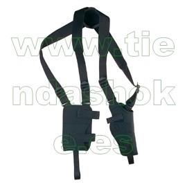 Sobaquera vertical acolchada para pistola o revolver zurda con fleje, funda cargador y grillete