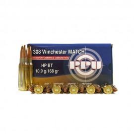 Cartucho PRVI cal. 308 Winchester HP BT