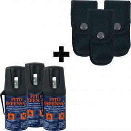 Oferta 3x2 Spray de defensa de pimienta FITO DEFENSA + Fundas cordura