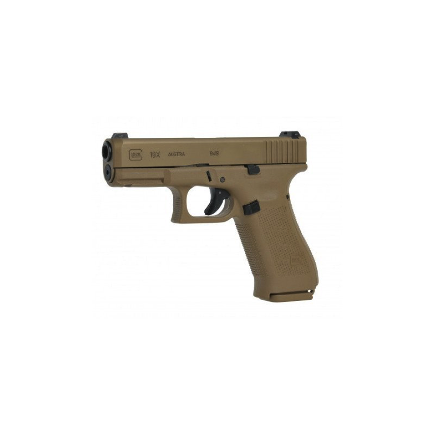 Pistola Glock 19X Coyote arma resistente para todo tipo de situaciones fabricada en PVC resistente a la corrosión y a los productos químicos. Incorpora un cañón GMB