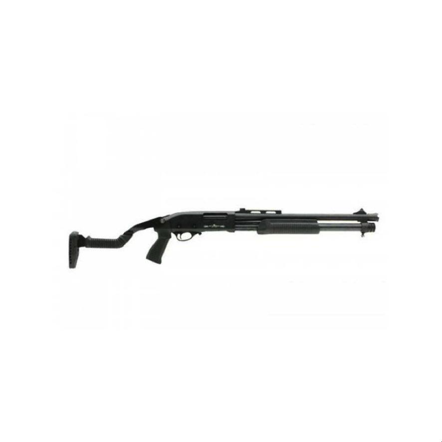 Escopeta Stinger de calibre 12 con culata retráctil con dos culatas; una fija polímera y otra retráctil