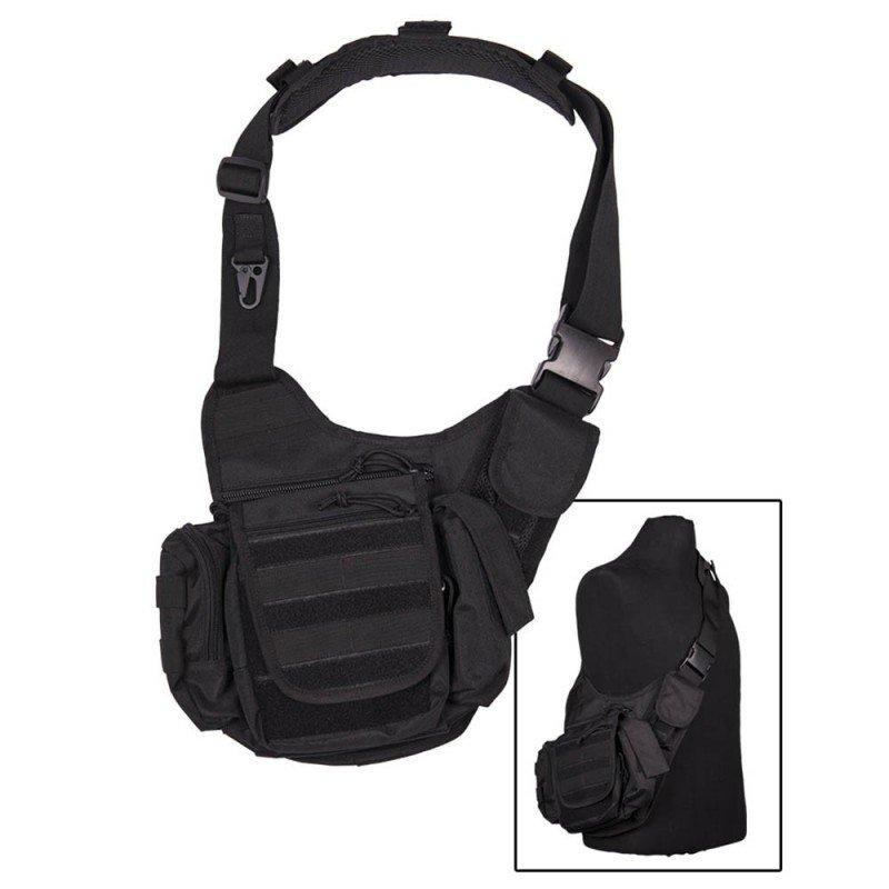 Mochila militar en negro Mil-Tec SlingBag de color negro, presenta una cinta ancha para una mejor portabilidad con cierres de máxima resistencia