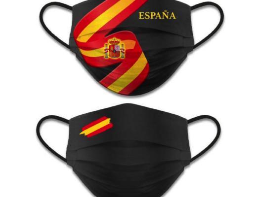 Ejemplo de mascarilla con bandera de España
