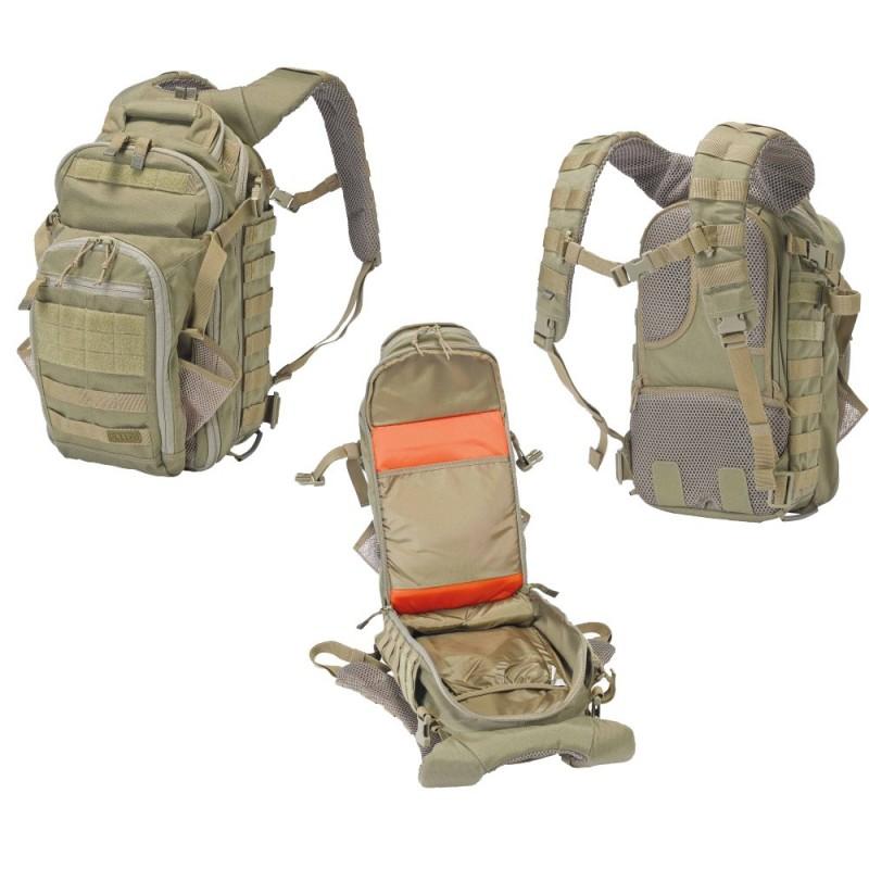 Mochila militar 5.11 All Hazards Nitro sirve como equipaje de mano, bolsa de patrulla o como medio de transporte para el kit táctico, siendo un modelo adecuado para las misiones nocturnas por su revestimiento naranja