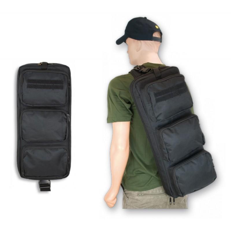 Modelo de mochila para arma larga de Barbaric, presenta una estética de bandolera para proporcionar una máxima comodidad en el transporte