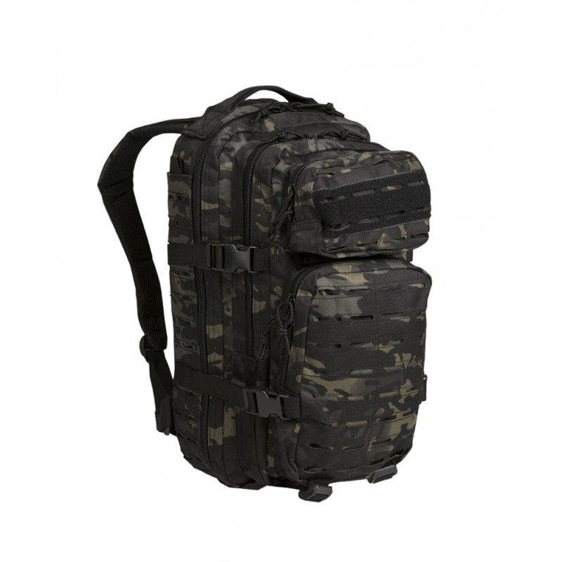 Modelo de mochila militar táctica Mil-Tec US Assault Laser Cut 20 litros Multitarn Black. Mochila de amplia capacidad con un sistema láser que permite ampliar el almacenamiento