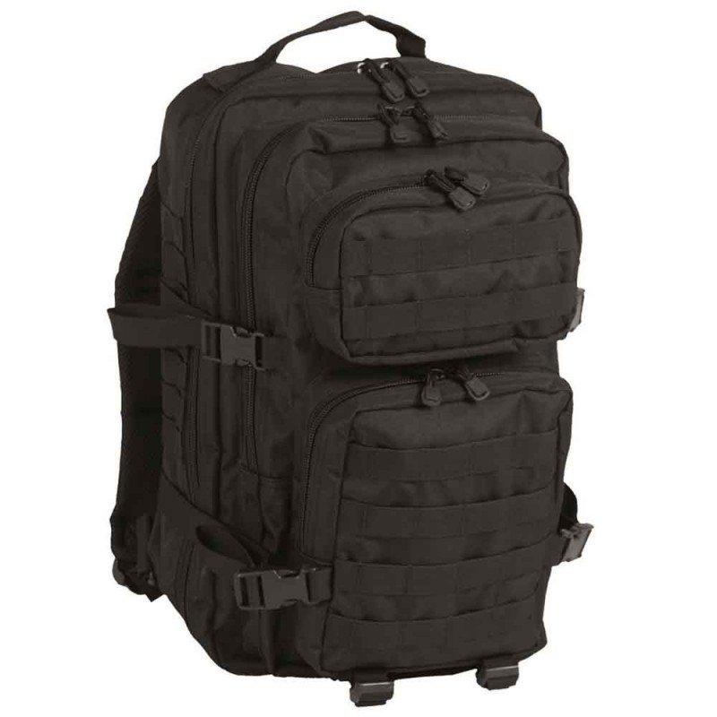 Modelo de mochila militar Mil-Tec Us Assault de 36 litros de color negra. Mochila de gran capacidad con protección en la zona de la espalda y los hombros.